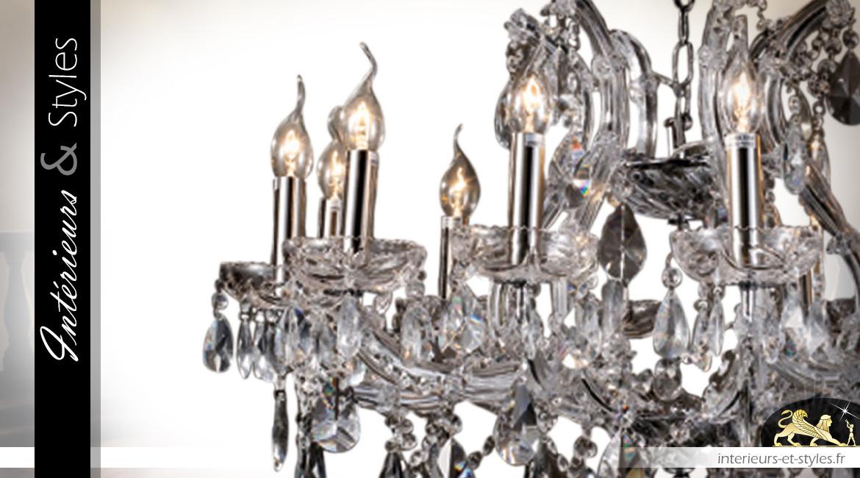 Lustre à pampilles Ø75cm / 12 feux de style classique esprit Marie-Thérèse, en métal chromé argent et verre transparent