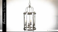Grande lanterne suspendue en métal chromé et verre style Empire 4 feux 70 cm