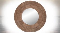 Miroir rond avec encadrement luxueux en cuir chamoisé bistre Ø 75 cm