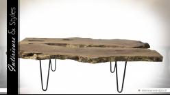 Table basse en suar massif brut sur socle en métal 139 cm