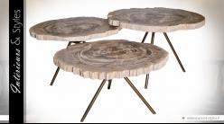 Série de trois tables basses en bois pétrifié coloris clair (60 cm)