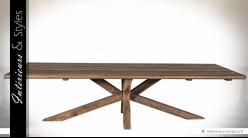 Grande table en teck massif recyclé avec piètement en étoile 3 mètres