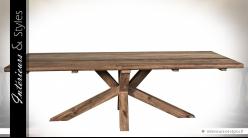 Grande table en teck massif recyclé avec piètement en étoile 2,5 mètres