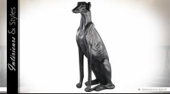 Grande sculpture noir mat style Art Déco d'un Galgo  75,5 cm