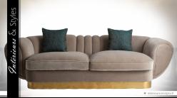 Canapé en velours gris grège style Art Déco formes arrondies 255 cm