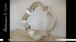 Grand miroir quadrilobe design argenté Ø 86 cm