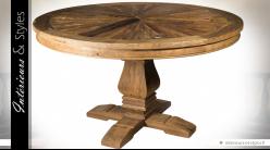 Grande table ronde rustique en orme recyclé avec pied central en balustre Ø 135 cm
