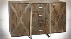 Buffet 2 portes et 4 tiroirs en manguier marqueté et métal doré