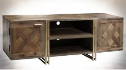Meuble TV moderne en manguier marqueté et métal doré 130 cm