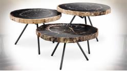 Ensemble de trois tables basses en bois pétrifié