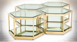 Ensemble de 4 tables basses design hexagonales dorées Eichholtz