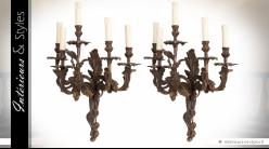 Paire d'appliques Pompadour en laiton patine bronze doré vieilli 61 cm