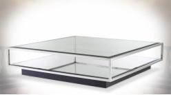 Table basse hyper design Eichholtz modèle Tortona argent 120 x 120 cm