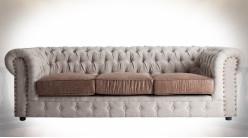 Canapé contemporain esprit Chesterfield en toile coloris lin écru et marron satiné 231 cm