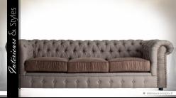 Canapé 3 places capitonné esprit Chesterfield en tissu bicolore