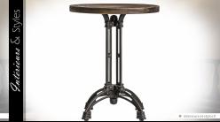 Table de bar circulaire avec plateau en orme recyclé et piètement en fonte de métal