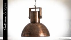 Grande suspension industrielle en métal finition cuivre Ø 52 cm