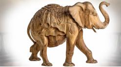 Scultpure d'éléphant artisanale sur bois de style oriental 66 cm