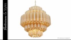 Suspension Vittoria S signée Eichholtz, en métal doré ambré et cylindres de verre