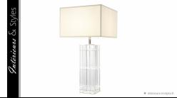 Lampe de salon design Universal signée Eichholtz, en verre ciselé et abat-jour en coton blanc