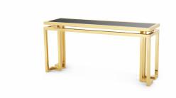 Console design Golden Palmer signée Eichholtz, en acier chromé doré et plateau en verre fumé noir