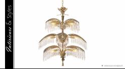 Lustre Hildebrandt L signé Eichholtz, ambiance Art Déco avec gouttes de verre cristalin, 12 feux