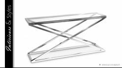 Console design Criss Cross signée Eichholtz , en acier chromé et verre