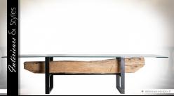 Grande table 320 cm de style ethnique et indus en bois, métal et verre