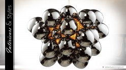 Lustre suspension design en forme de boules de verre chromées
