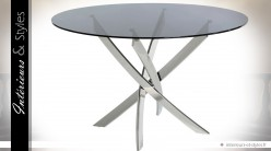 Table ronde design en inox poli et plateau en verre trempé Ø 120 cm