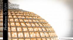 Lustre ovale à pampilles sur canevas nickel argenté Ø 70 cm