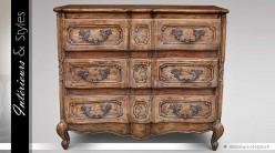 Commode à 3 tiroirs de style français ancien patine marron antique