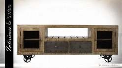 Meuble TV de style industriel sur roues, en manguier et métal