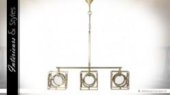 Grande suspension design verre et laiton doré 3 points lumineux