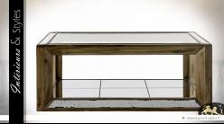 Table basse avec plateau en verre et habillage miroirs anciens