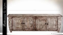 Grand meuble TV de style brocante à 4 portes patine blanchie 200 cm