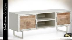 Meuble TV en bois et métal style indus et rétro à 2 portes
