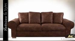 Canapé 3 places marron en microfibre imitation cuir ancien