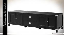 Grand meuble TV design noir et chrome 4 portes 2 tiroirs