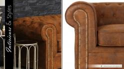 Canapé 3 places Chesterfield microfibre finition cuir marron vieilli