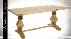 Table monastère 2 mètres en mindi avec pieds en balustres