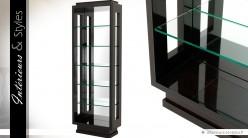 Bibliothèque design en verre trempé et bois laqué noir