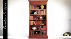Grande bibliothèque de style colonial anglais en acajou massif