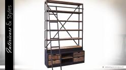 Grande bibliothèque en bois et métal style indus avec échelle