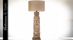 Lampe de table manguier massif sculpté à la main statuette primitive
