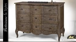 Commode arbalète à 3 tiroirs style Louis XV finition brun foncé
