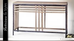 Console design indus métal noir et bois naturel recyclé
