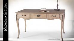 Bureau style Louis XV bois massif finition chêne clair et laiton cuivré