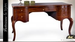 Bureau de style classique à 5 tiroirs en acajou massif