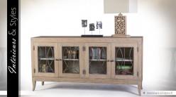 Buffet meuble TV  à 4 portes vitrées bois massif et métal vieilli